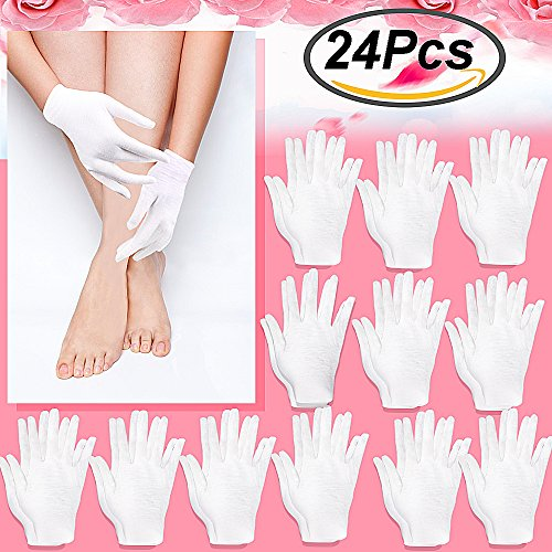 Outee 12 Pairs 7 Inch Moisturizing Gloves White Cotton Cosmetic Moisturizing Gloves Hand Spa Gloves Moisture Enhancing Glove (White Moisturizing)