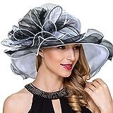 Women Derby Church Dress Fascinator Wide Brim Ruffles Tea Party Wedding Organza Hats S042b (Black)