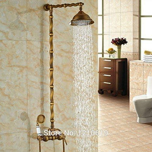 "ZT-TTHG 蛇口新8"" レインシャワー蛇口セットアンティークの真鍮のシャワーミキサー蛇口タップ壁掛けワット/セラミックハンドシャワー、マルチ"