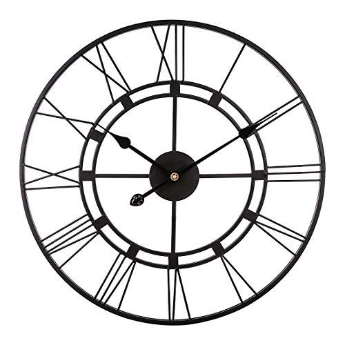PeleusTech® 40cm/16Inch Big Wall Clock Iron Art Deco Wall Clock Battery Operated Non Ticking Wall Clock for Living Room, Bedroom, Office, Bar -