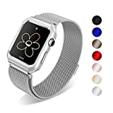 SUNKONG Milanese Loop for Apple Watch Band 42mm Silver with Stainless Steel Case for Apple Watch Series 3 2 1