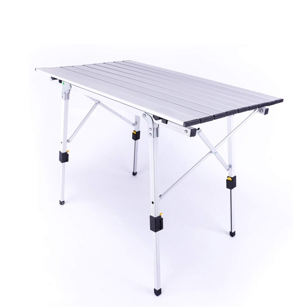 White RUIMA Camp Field Camping Table with Adjustable Legs for Beach, Backyards, BBQ, Party and Picnic Table (color   White)