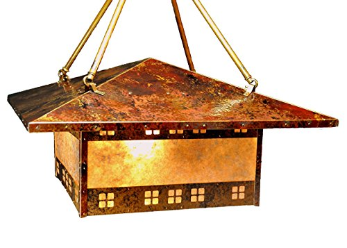 Copper and Mica Prairie Style Chandelier Craftsman Mission Bungalow Arts Crafts Revival (Robins Chandelier)