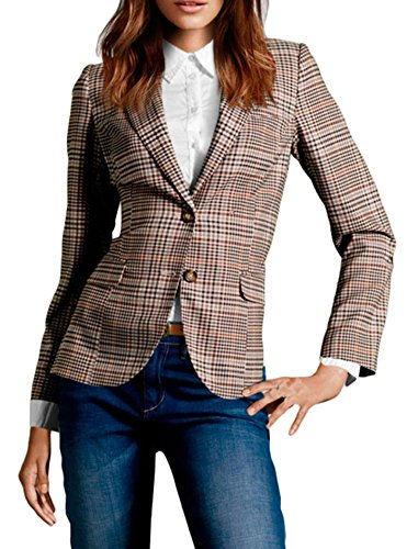Womens Brown Tweed - FACE N FACE Women's Cotton Long Sleeve Slim Short Blazer Suit Jacket Brown Large
