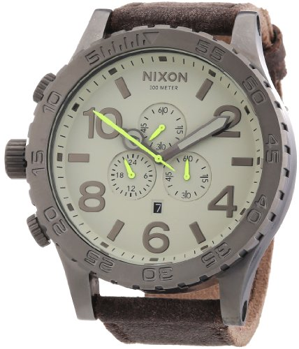 nixon-a124-1388-00-mens-51-30-chrono-gunmetal-and-brown-leather-watch