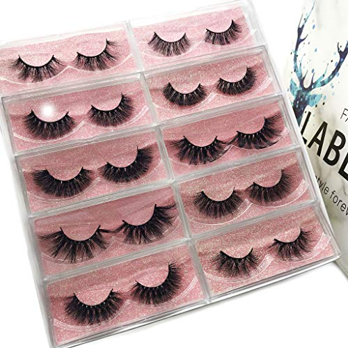 Labeh Mink Eyelashes 3D Mink Fur False Eyelashes Reusable Handmade Natural Lashes Fake Eyelashes Easy to Apply (10…