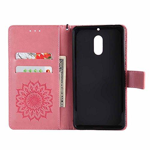Nokia 6 Hülle Case, Dfly Premium Slim PU Leder Mandala Blume prägung Muster Flip Handyhülle Standfunktion Kartenfach Brieftasche Schutzhülle Cover für Nokia 6, Grün Rosa