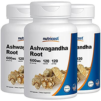 Nutricost Ashwagandha Herbal Supplement 600mg, 120 Capsules - Healthy Stress Response