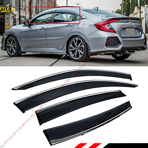Fits for 2016-2020 Honda Civic 4 Door Sedan Clip on Style Chrome Trim Window Visor Rain Guard Deflector