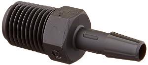 "Eldon James A4-4BN Black Nylon Adapter Fitting, 1/4-18 NPT to 1/4"" Hose Barb (Pack of 10)"