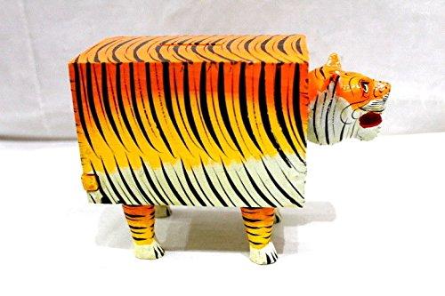 HANDMADE HANDPAINT WOODEN PIGGY BANK DESIGNER LION MONEY BOX STEALING COIN GIFT ()
