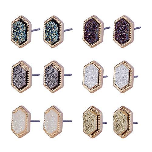 Joan Nunu Pretty Cute Druzy Crystal Round Stud Earrings Set for Women Girl Fashion Delicate Pierced Jewelry