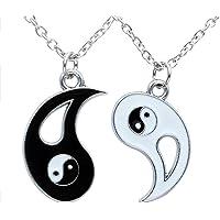 BASON Collar Ying Yang, Taichi Collar Pareja Mejores Amigos, Colgante de Acero Inoxidable Collar, 2 Collares de aleación