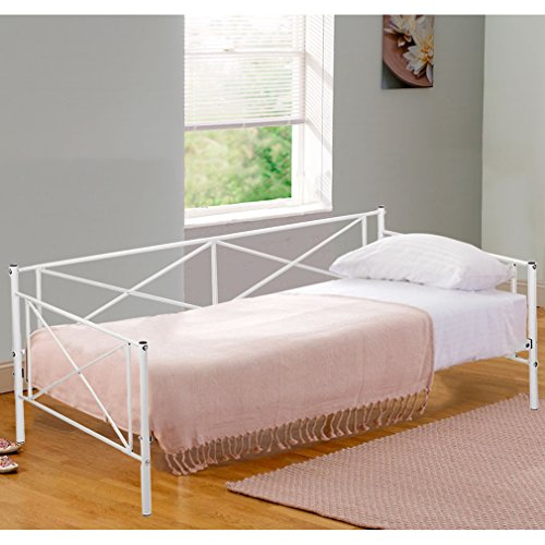 BestMassage Daybed Metal Daybed Frame with Children Bed Frame for Living Room Guest Room
