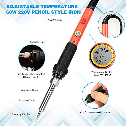 Soldering Iron Kit Electronic,60W Adjustable Temp 200-450°C (392℉ to 842℉),ON/Off Switch Soldering-Iron Welding Gun with 5PCS Iron Head,Electric Solder Iron Pen Set for Various Repaired Usages
