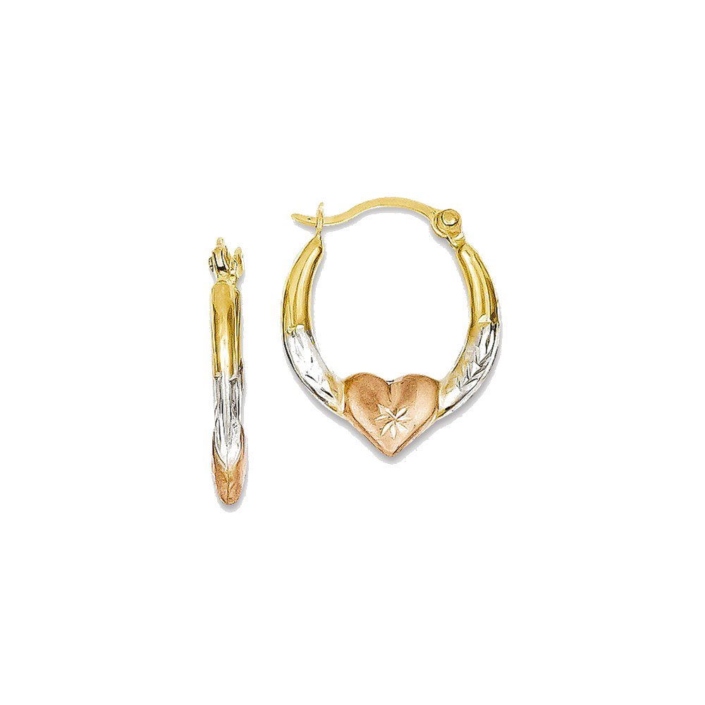 Goldia 14K Tri-Color Madi K Heart Hoop Earrings