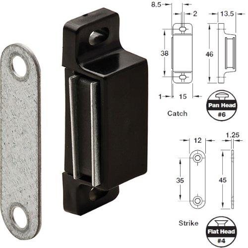 Black Plastic Magnetic Cabinet Door Floating Catch With Metal Strike