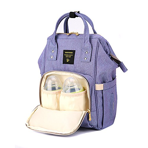 Sunveno impermeable Bolsa cambiadora de pañales Mochila de pañales Organizador de la bolsa de viaje para mamá y papá Con el bolsillo aislado (Naranja rosa) morado