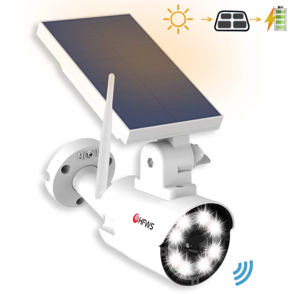 Solar Lights Outdoor Motion Sensor – 800Lumens 8 LED 5W 110W Equiv. Solar-Powered Flood Light for Porch Garden Driveway Pathway, HFWS-S2-W