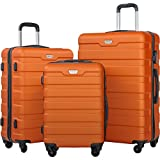 Merax Luggage Set 3 Piece Lightweight Spinner Suitcase (Orange)