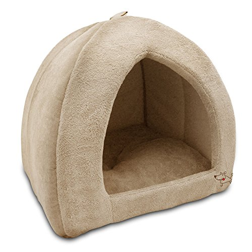 Best Pet Supplies Coral Fleece Tent for Pets, Tan - X-Large