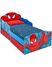 HelloHome 509 SDR Spiderman barnsäng med ljusa ögon och substratbehållare, trä, röd, 142 x 77 x 64 cm