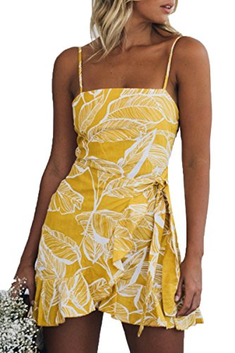 Jennyarn Ladies Floral Print Spaghetti Straps Backless Slim Fit Dresses with Belt S (Wrap Tie Dress)