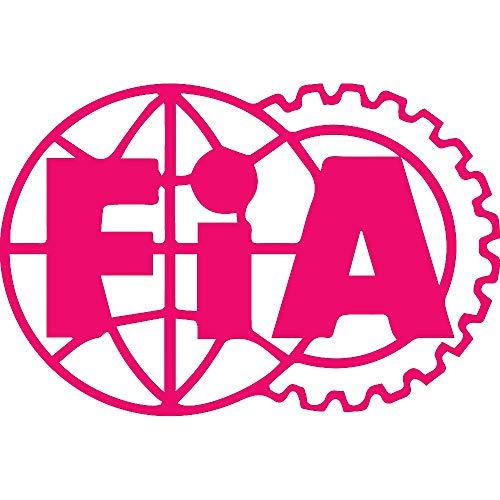 NBFU DECALS Logo FIA (Pink) (Set of 2) Premium Waterproof Vinyl Decal Stickers for Laptop Phone Accessory Helmet CAR Window Bumper Mug Tuber Cup Door Wall Decoration