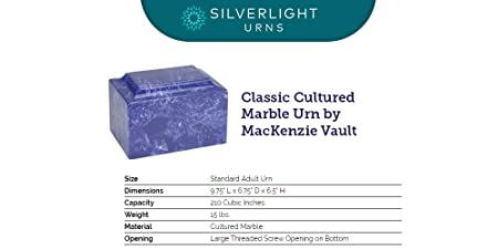 Silverlight Urns Cobalt Classic Cultured Marble Funeral Cremation Urn for Human Ashes Dark Blue – Adult Large Size. Suitable for Ground Burial or Memorial at Home