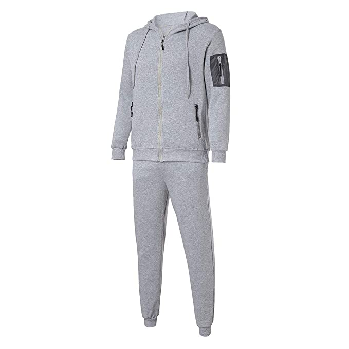 Mens Autumn Winter Sports Suit GREFER Clearance Patchwork Sweatshirt Top Pants Sets Tracksuit at Amazon Mens Clothing store: