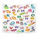 Emvency Tapestry Kindergarten Cute Animal Alphabet English Nursery Wall Kid's Gender Neutral ABC Children's Education Home Decor Wall Hanging for Living Room Bedroom Dorm 50x60 inches