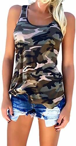 Geckatte Women's Casual Sleeveless Camouflage Tank Tops Camo Shirts Plus Size