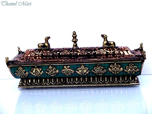 10 Inches long Tibetan antiqued metal Eight Auspicious mantras incense burner-Decorated with blue turquoise,red coral clips