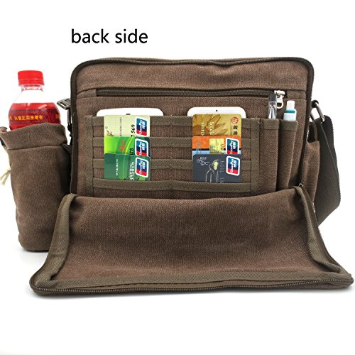 messenger bag for women, Multifunction Versatile CanvasMens Womens Handbag Messenger Shoulder Bag for iPad Leisure Change Packet with Small Water Bag Coffee by MiCoolker (Image #2)