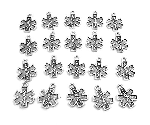 Charms Pewter Cross (Set of Twenty (20) Pewter EMT Cross Charms)