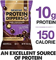 Shrewd Food Dark Chocolate Protein Crisp Dippers | Chocolate Covered High Protein Puffs, Healthy Snacks | 10g Protein | Low