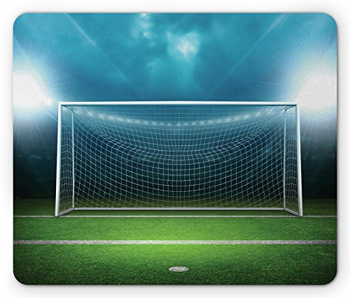 Soccer Mouse Pad by Ambesonne, Soccer Goal Post Sports Area Winner Loser Line Floodlit Best Team Finals Game Theme, Standard Size Rectangle Non-Slip Rubber Mousepad, Green Blue (Soccer Goal Post Size)