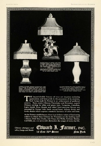 1925 Ad Edward J. Farmer Chinese Porcelain Lamps Shades Lighting Bronze Antiques - Original Print Ad from PeriodPaper LLC-Collectible Original Print Archive