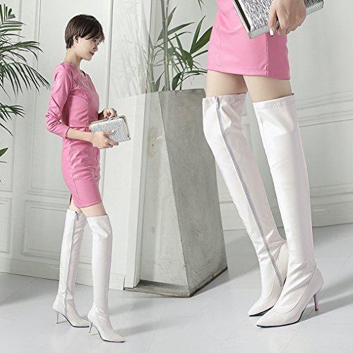 Pointu Hiver Zippées Bottes Haut Sexy Oaleen Femme Cuissardes Talon Aiguille Blanc Vernis Bout w0qPPBWU