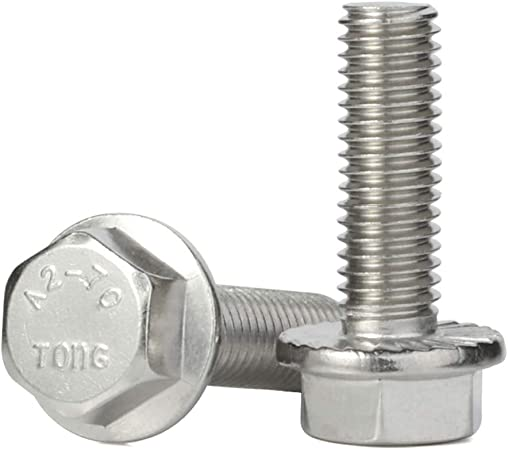 M6-1.0 x 20mm Flanged Hex Head Bolts Flange Hexagon Screws Quantity 50 Stainless Steel A2-70