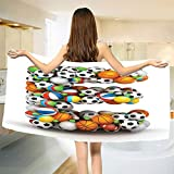 smallbeefly Letter E Bath Towel ABC of Sports Concept Different Gaming Balls First Name Initial Monogram Design Bathroom Towels Multicolor Size: W 27.5'' x L 67''