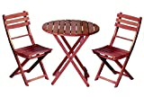 3 Pc. Bistro Set – Round Wood Table & 2 Chairs For Sale