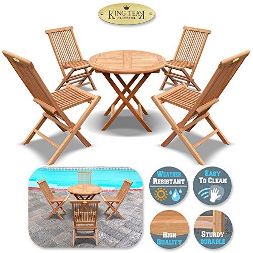 One Round Table Teak (King Teak Outdoor Dining Set 4 PCS Golden Teak Wood Folding Chair & 1 PC Round Table Outdoor Furniture Set Garden Yard Seat Chair)