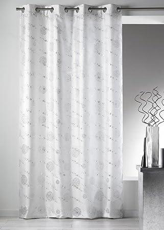 Home Maison 09400-8-AL Rideaux Shantung Imprimé Argent/Paillette ...