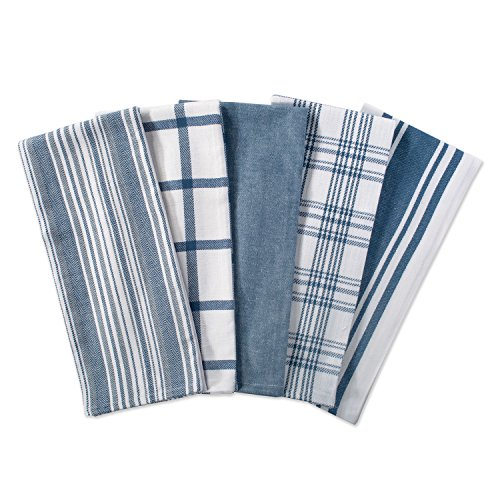 DII Kitchen Dish Towels (Stone Blue, 18x28), Ultra Absorbent & Fast Drying, Professional Grade Cotton Tea Towels for Everyday Cooking and Baking -  Assorted Patterns, Set of 5