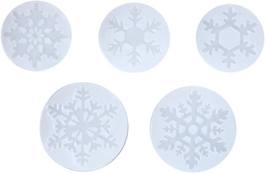 Arcilla de pol/ímero para proyectos de Manualidades WANDIC Molde de Silicona con dise/ño de Copo de Nieve Molde de Silicona para Manualidades 5 Piezas