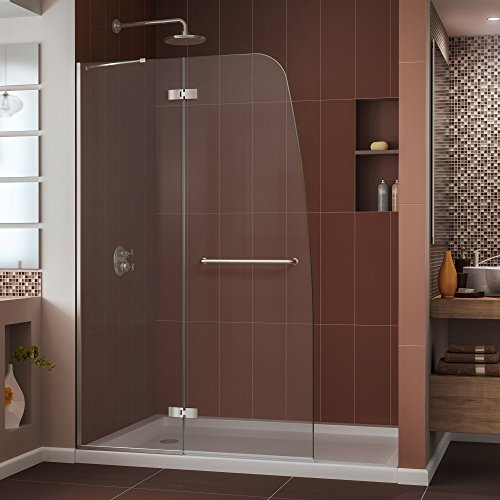 DreamLine Aqua Ultra 45 in. W x 72 in. H Frameless Hinged Shower Door in Brushed Nickel, SHDR-3445720-04 by DreamLine