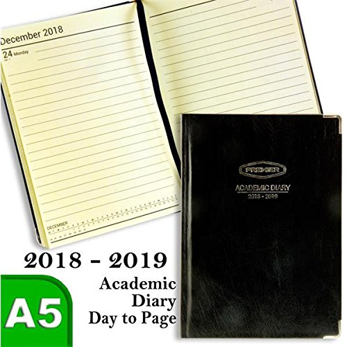 Premier Stationery S5714931 A5 Day to Page 2018-2019 Hard Cover Academic Diary