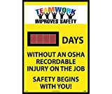 NMC DSB58 Digital Scoreboard, ''Teamwork Improves Safety - XXXX Days Without An OSHA Recordable Injury On The Job - Safety Begins With You!'', 20'' Width X 28'' Height, 0.085 Polystyrene, Black On Yellow