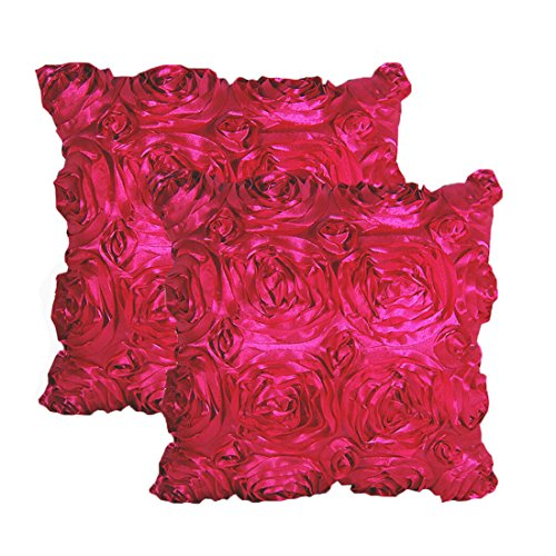 E'Plaza 2pcs New Hot Pink 3D Raised Ribbon Roses Cushion Covers Throw Pillow Cases 16X16 (2, hot Pink) (Cushion Hot Covers Pink)